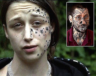 Women tattoos star on face
