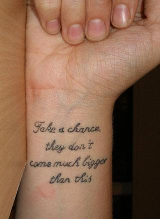 Wrist quotes Tattoos. Hand Quote Tattoos Ideas