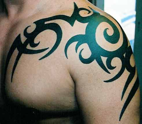 tribal tattoo arm chest.