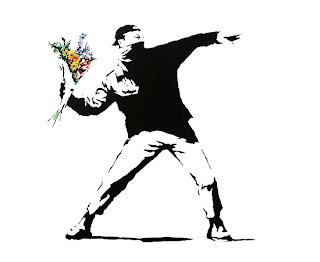 bansky flower graffiti ideas