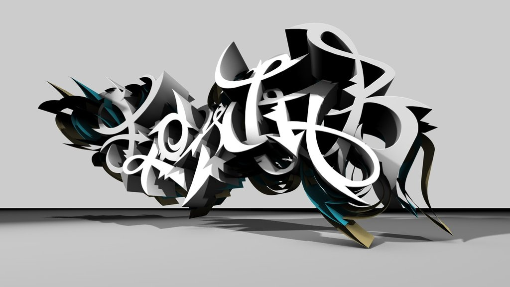 3d graffiti: Graffiti Art Black and White Design Ideas