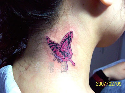 Neck Tattoos, flowers neck tattoo, Butterfly