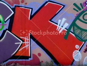 Red graffiti alphabet letters k design