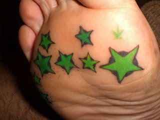 star tattoos design on foot for girls