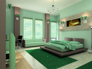 modern bedroom green design