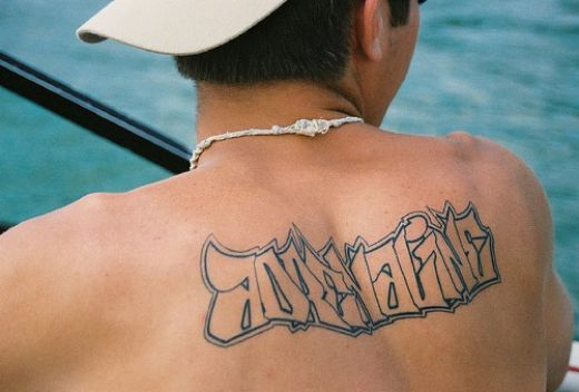 Searching for 'fancy tattoo writing' The main style is blackletter. Bye!