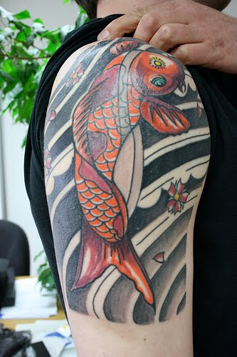 Flower Dragon Fish Tattoos Design On Arm For Men