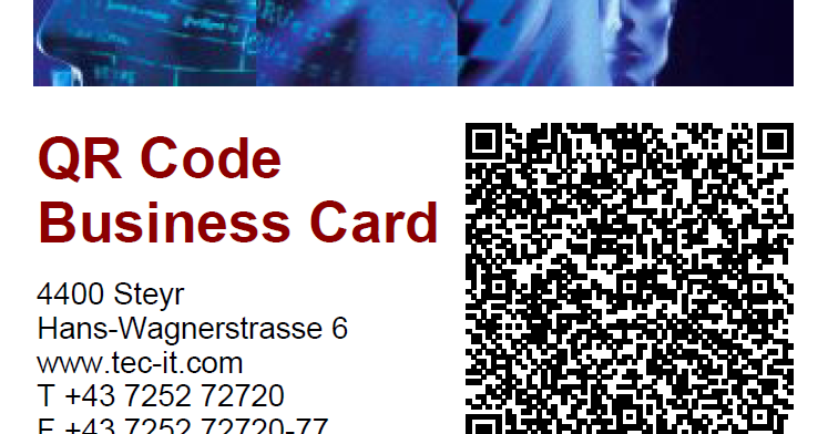 Identifying objects by tec it create business cards for Create qr code business card