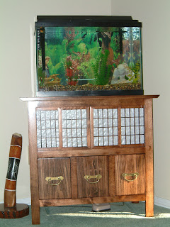 Tank on new fish cabinet that J built.