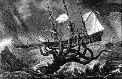 great monsters, monster deep sea, giant squid, squid ship