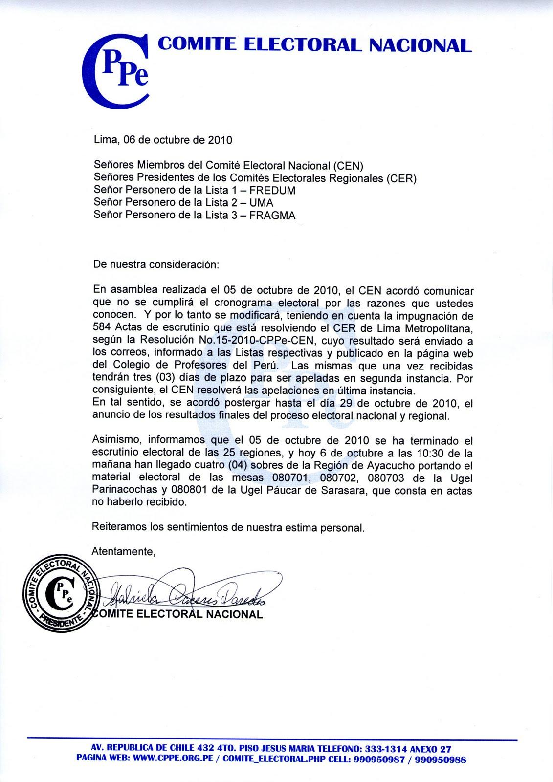 LA ANTORCHA EDUCATIVA: CPPe. Comité Electoral posterga la ...