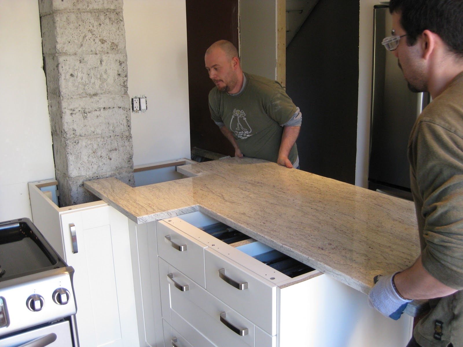 Adventures at 1628 kitchen part iii for Bathroom countertop installation
