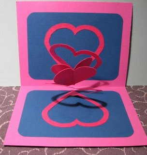 double spiral valentine heart pop up card