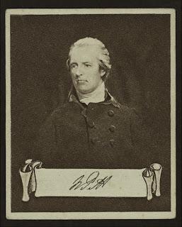 William Pitt the younger, de una serie de portadas para cigarrillos 'Celebrities and their autographs'de la colección George Arents, extraído de www.nypl.org