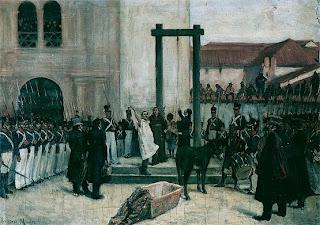 'Ejecución de Pedro Domingo Murillo', óleo de José García Mesa, siglo XIX