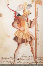 El cacique Lautaro, quien en Tucapel -diciembre de 1553- venciera y diera muerte a su enemigo don Pedro de Valdivia.(Sin información del Artista)
