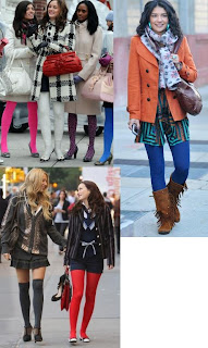 Gossip Girl Bright colored tights @ Chasing davies
