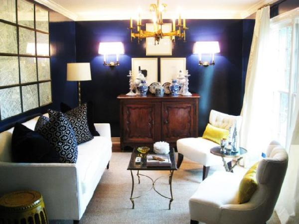 Navy Blue and Yellow Living Room