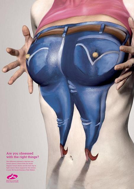 body arte seios biquinhos propaganda cancer