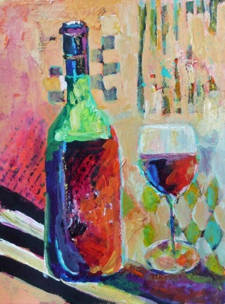 nancy standlee fine art wine bottles acrylic painting