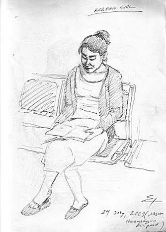 KOREAN GIRL AT MOSKOW AIRPORT,SKETCHING BY PEN,2009 ESTONIA