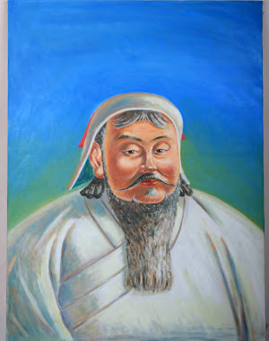 CHINGHIS KHAAN( founder of the Great Mongol Empire State),oil on canvas,40x60 cm,2010