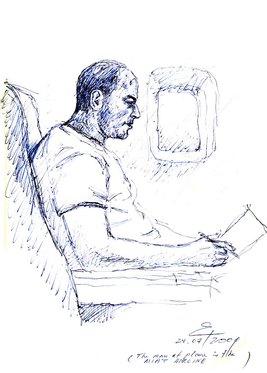 MAN ON BOARD ON THE WAY TO MONGOLIA FROM MOSCOW,SKETCHING BY PEN,2009 ESTONIA