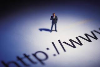 Man examining internet URL