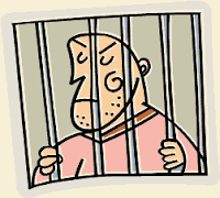 crook behind bars in jail line drawing