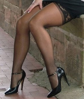 ... are a pair of legs in high heels and stockings. Very sexy if you ask me.