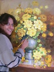 Sonia pintando Rosas