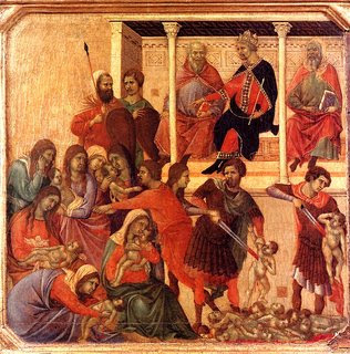 Duccio di Buoninsegna detail from The Slaughter of the Innocents; 1308-11, Museo dell'Opera del Duomo, Siena