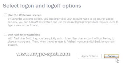 Logon options tidak aktif