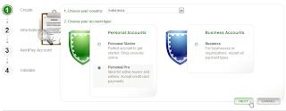 Pilih Tipe Account AlertPay