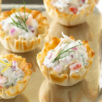 ... crab tartlets are made with cream, cheddar and Parmesan cheese. 12