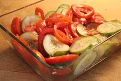 Tomatoes and Cucumbers in Oil and Vinegar Salad