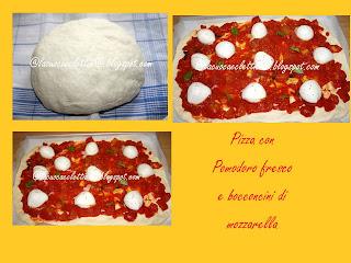 Pizza con pomodoro fresco e bocconcini di mozzarella di bufala