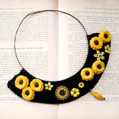 bib necklace with yellow flowers