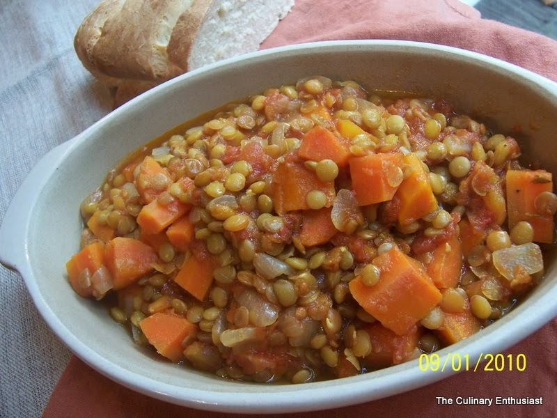 The Culinary Enthusiast: Stewed Lentils & Tomatoes