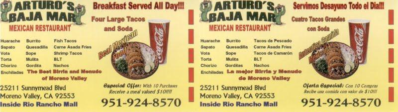 Arturo's Baja Mar - Mexican Restaurant (951) 924-8570