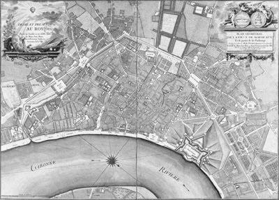 Perspective du Château Trompette, plan géométral de Bordeaux, 1754
