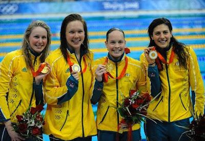Australia - Bronte Barrett, Kylie Palmer, Linda Mackenzie y Stephanie Rice