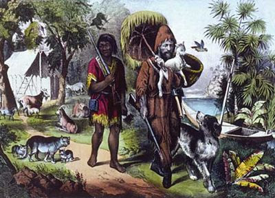 Viernes y Robinson Crusoe