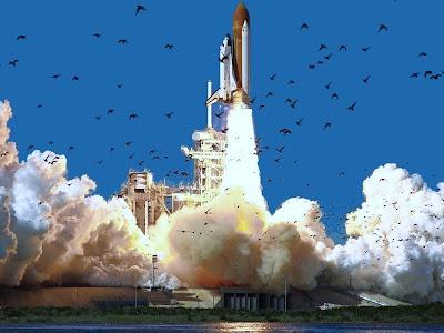 El Challenger iniciando su último vuelo