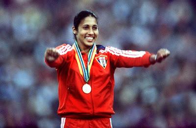 María Caridad Colón, campeona olímpica de lanzamiento de Jabalina en Moscú '80