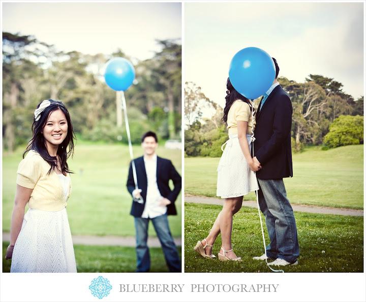 Berkeley Tilden Park engagement photographer with balloons