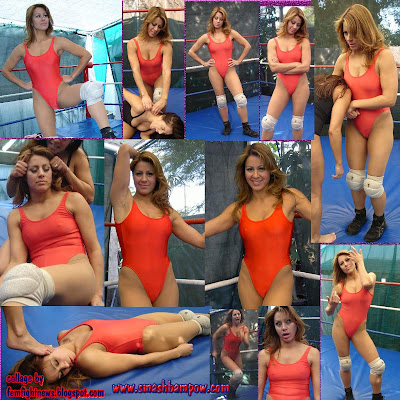 Female Fighter Caliente in an awesome red one-piece wrestling outfit