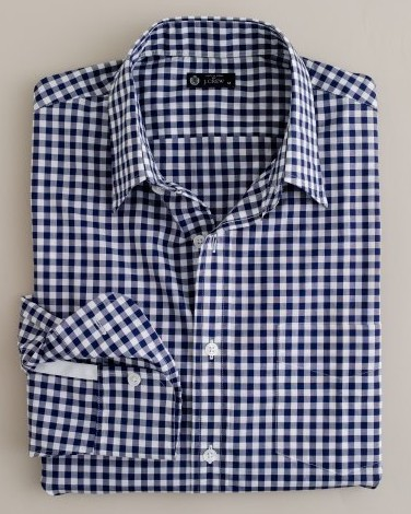 The gingham shirt the utility player red clay soul for Navy blue gingham shirt