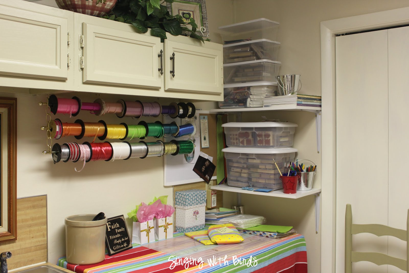How to make an easy hanging ribbon organizer in my own style for Building a craft room