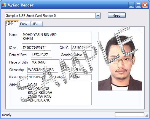 screen shot of mykad reader sofware